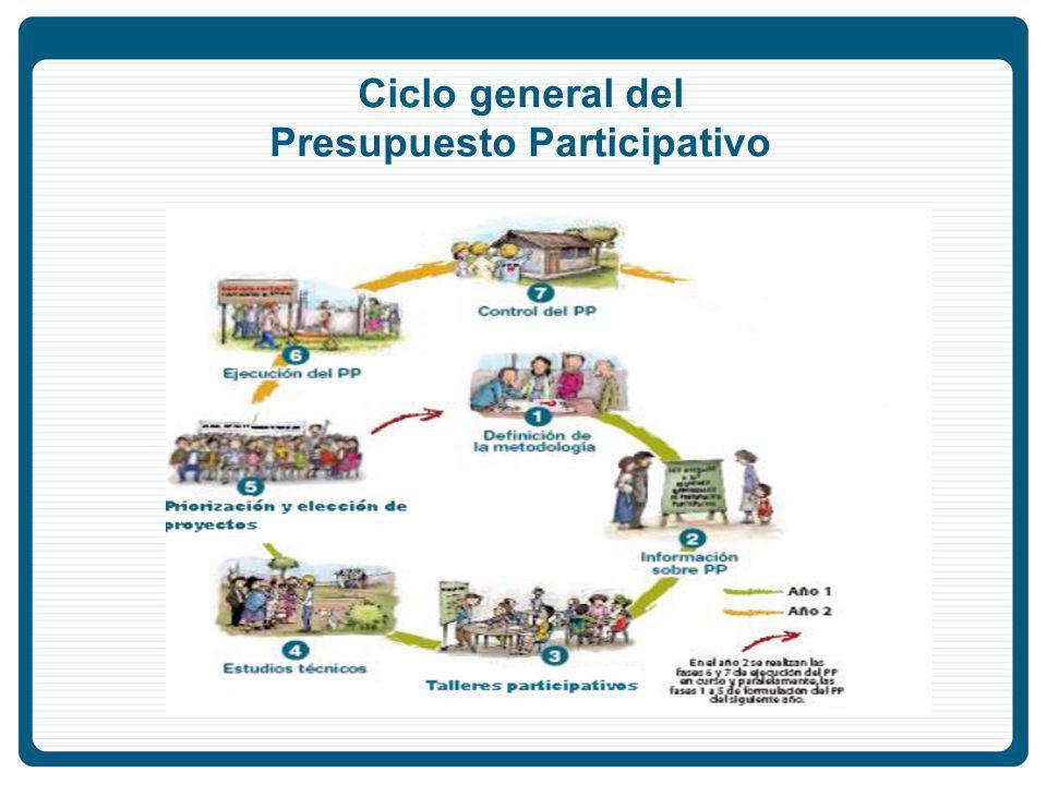 Ciclo general del Presupuesto Participativo