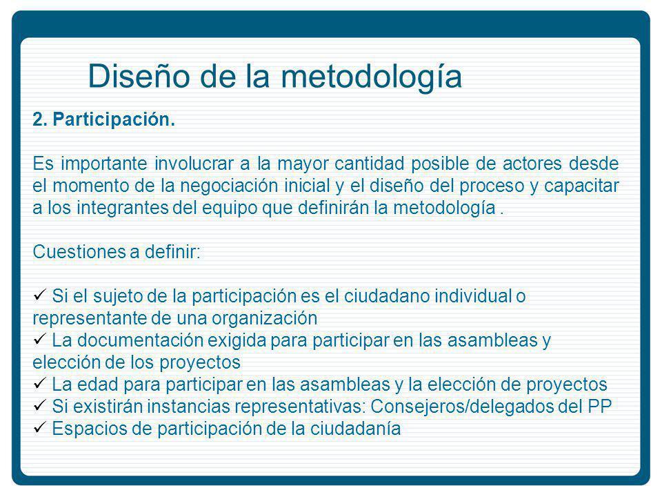 Diseño de la metodología 2.Participación.