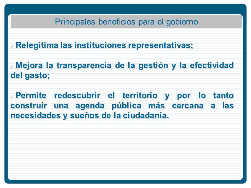Principales beneficios para el gobierno Relegitima las instituciones representativas; Relegitima las instituciones representativas; Mejora la transparencia de la gestión y la efectividad del gasto; Mejora la transparencia de la gestión y la efectividad del gasto; Permite redescubrir el territorio y por lo tanto construir una agenda pública más cercana a las necesidades y sueños de la ciudadanía.