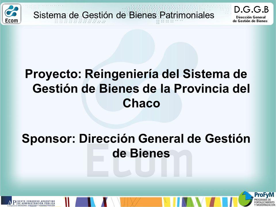 Sistema de Gestión de Bienes Patrimoniales Proyecto: Reingeniería del Sistema de Gestión de Bienes de la Provincia del Chaco Sponsor: Dirección General de Gestión de Bienes