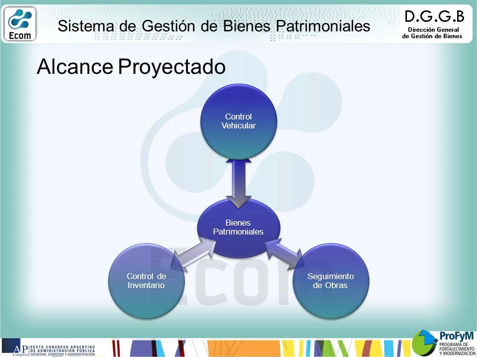 Bienes Patrimoniales Control Vehicular Seguimiento de Obras Control de Inventario Sistema de Gestión de Bienes Patrimoniales Alcance Proyectado