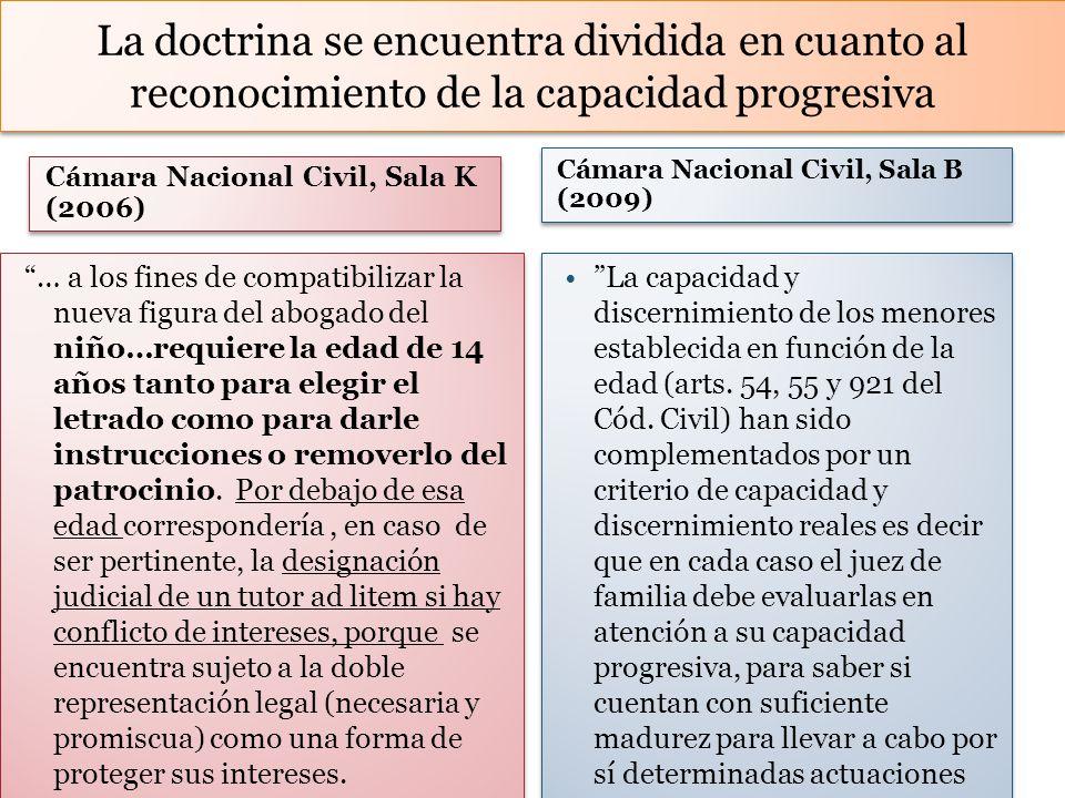 La doctrina se encuentra dividida en cuanto al reconocimiento de la capacidad progresiva Cámara Nacional Civil, Sala K (2006) … a los fines de compati