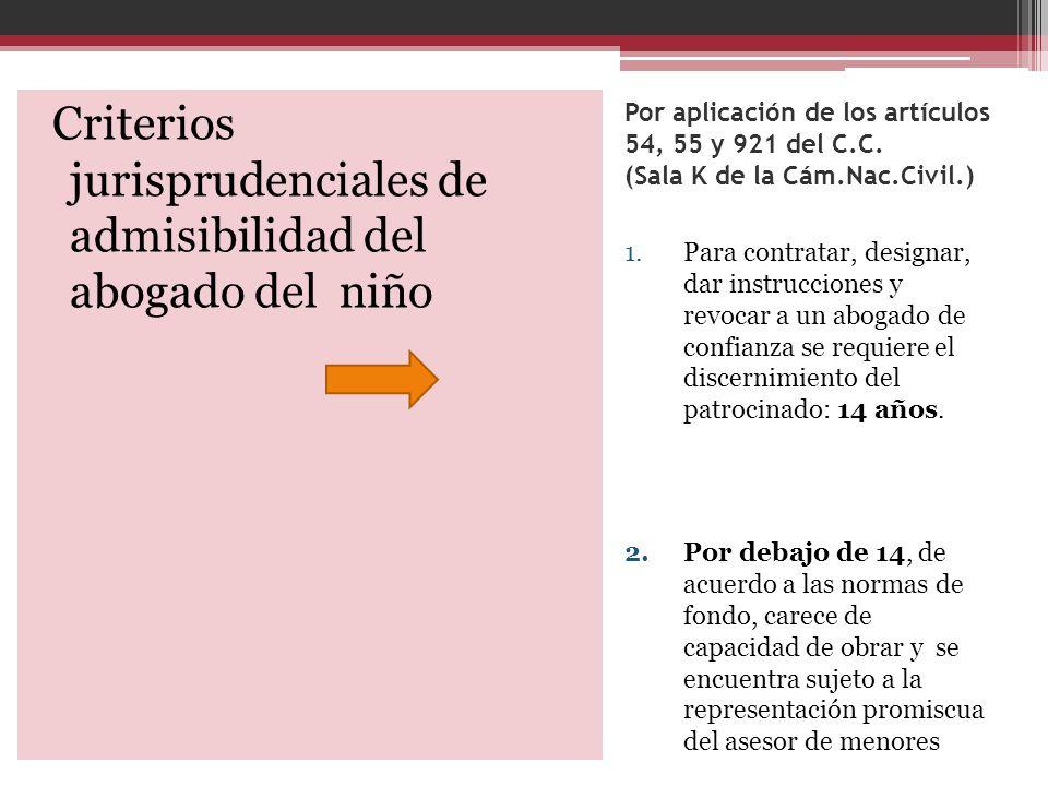 Por aplicación de los artículos 54, 55 y 921 del C.C. (Sala K de la Cám.Nac.Civil.) 1.Para contratar, designar, dar instrucciones y revocar a un aboga