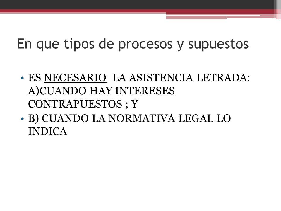 En que tipos de procesos y supuestos ES NECESARIO LA ASISTENCIA LETRADA: A)CUANDO HAY INTERESES CONTRAPUESTOS ; Y B) CUANDO LA NORMATIVA LEGAL LO INDI