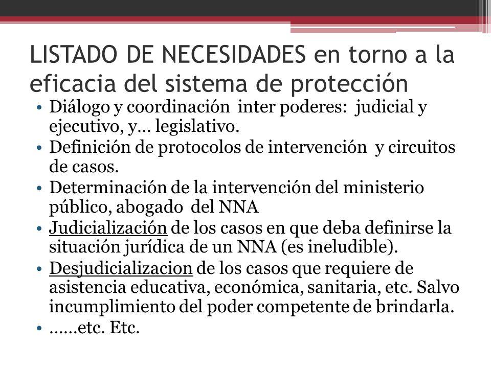 LISTADO DE NECESIDADES en torno a la eficacia del sistema de protección Diálogo y coordinación inter poderes: judicial y ejecutivo, y… legislativo. De