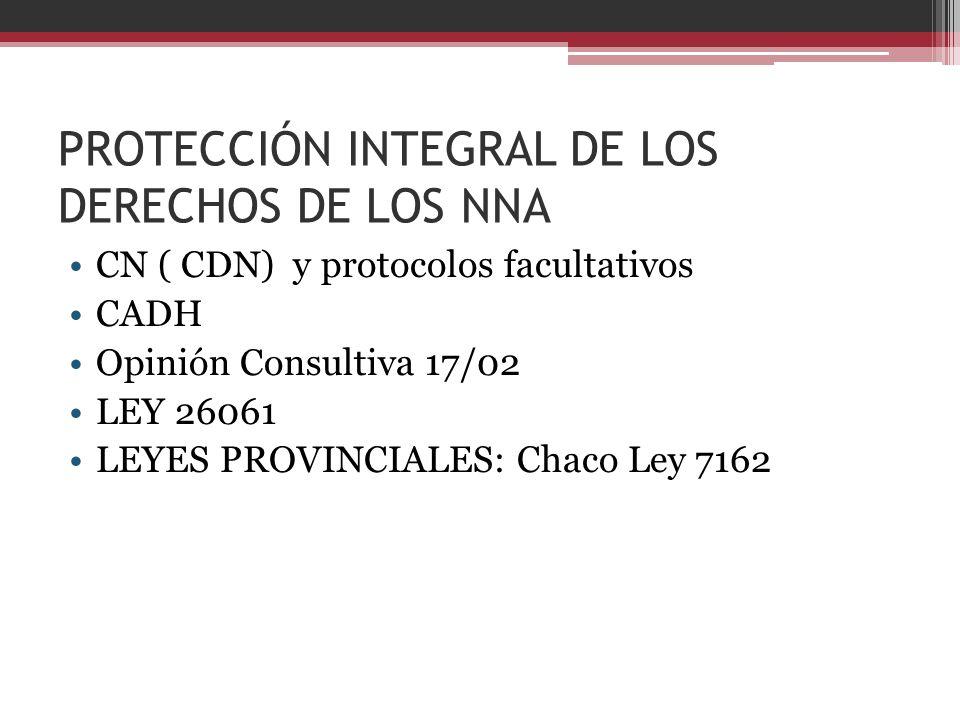 PROTECCIÓN INTEGRAL DE LOS DERECHOS DE LOS NNA CN ( CDN) y protocolos facultativos CADH Opinión Consultiva 17/02 LEY 26061 LEYES PROVINCIALES: Chaco L