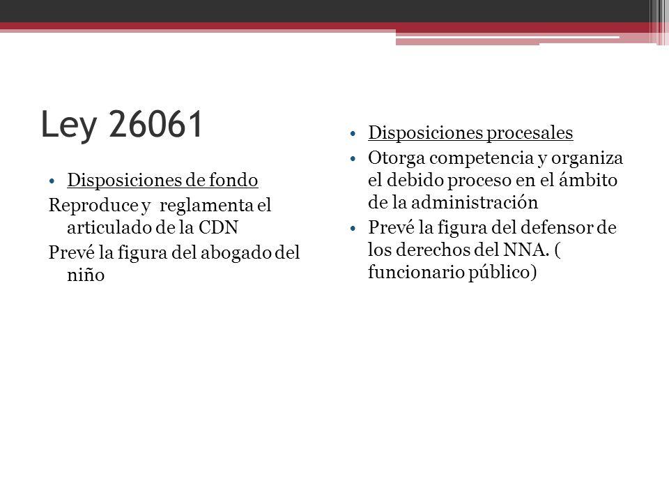 Ley 26061 Disposiciones de fondo Reproduce y reglamenta el articulado de la CDN Prevé la figura del abogado del niño Disposiciones procesales Otorga c