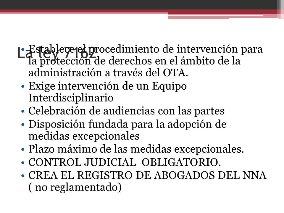 La ley 7162 Establece el procedimiento de intervención para la protección de derechos en el ámbito de la administración a través del OTA. Exige interv