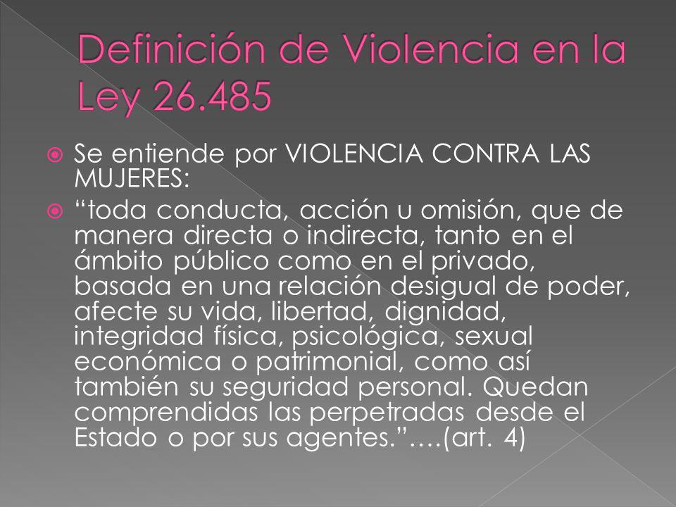 Se entiende por VIOLENCIA CONTRA LAS MUJERES: toda conducta, acción u omisión, que de manera directa o indirecta, tanto en el ámbito público como en e