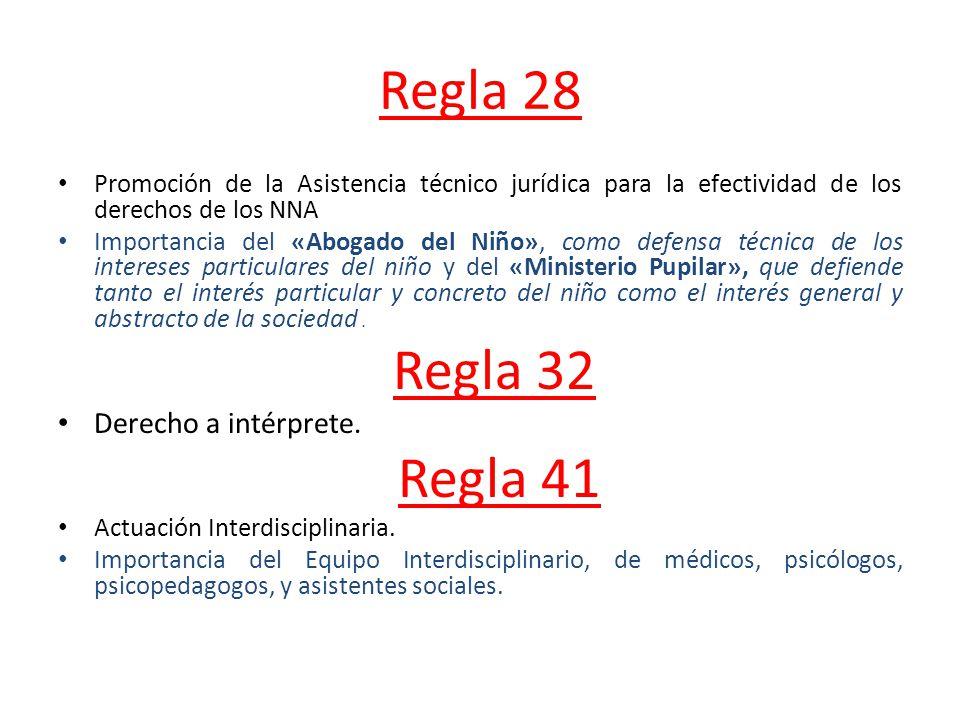 Regla 28 Promoción de la Asistencia técnico jurídica para la efectividad de los derechos de los NNA Importancia del «Abogado del Niño», como defensa t