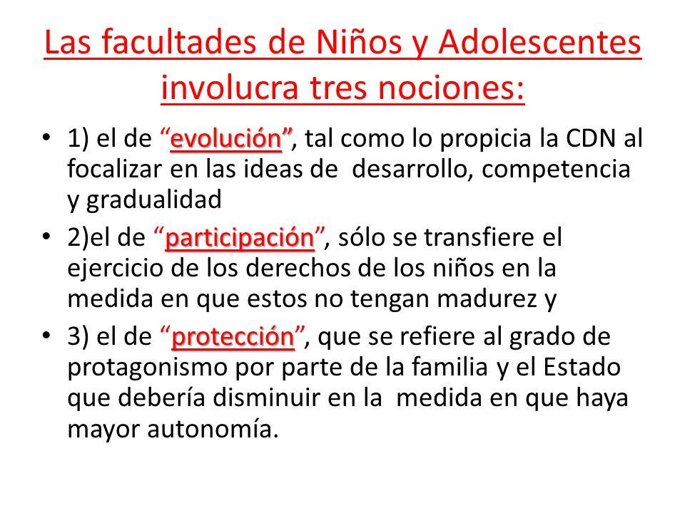 Las facultades de Niños y Adolescentes involucra tres nociones: evolución 1) el de evolución, tal como lo propicia la CDN al focalizar en las ideas de