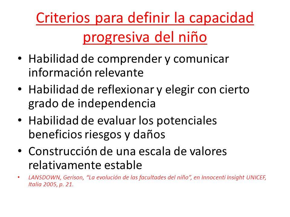 Criterios para definir la capacidad progresiva del niño Habilidad de comprender y comunicar información relevante Habilidad de reflexionar y elegir co
