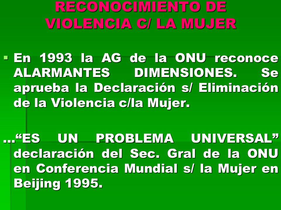 RECONOCIMIENTO DE VIOLENCIA C/ LA MUJER En 1993 la AG de la ONU reconoce ALARMANTES DIMENSIONES.