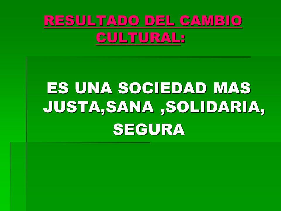 RESULTADO DEL CAMBIO CULTURAL: RESULTADO DEL CAMBIO CULTURAL: ES UNA SOCIEDAD MAS JUSTA,SANA,SOLIDARIA, SEGURA