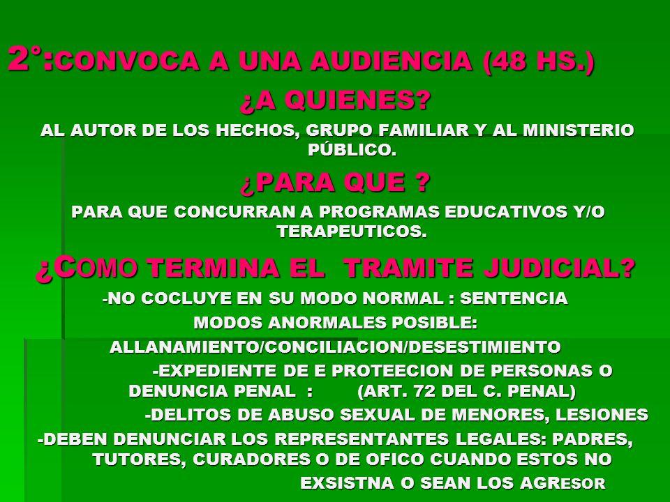 2°: CONVOCA A UNA AUDIENCIA (48 HS.) ¿A QUIENES.