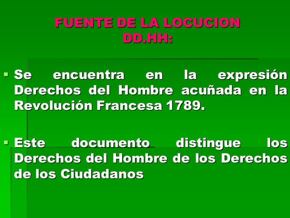 FUENTE DE LA LOCUCION DD.HH: Se encuentra en la expresión Derechos del Hombre acuñada en la Revolución Francesa 1789.