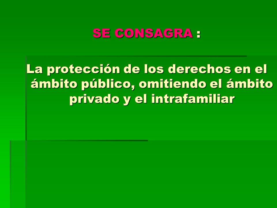 SE CONSAGRA : La protección de los derechos en el ámbito público, omitiendo el ámbito privado y el intrafamiliar