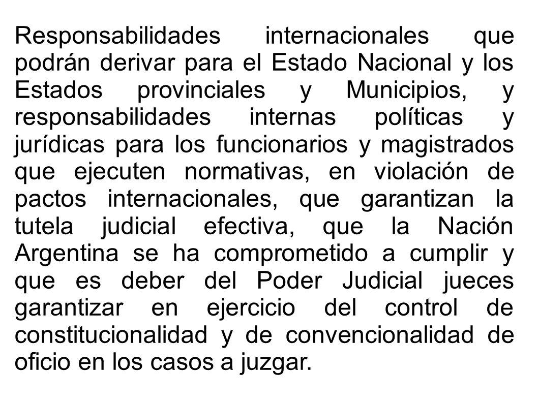 Responsabilidades internacionales que podrán derivar para el Estado Nacional y los Estados provinciales y Municipios, y responsabilidades internas pol
