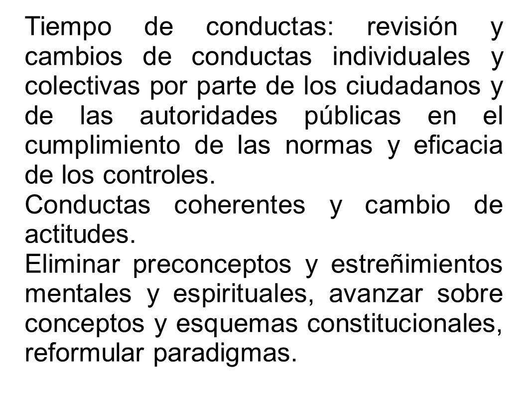 Tiempo de conductas: revisión y cambios de conductas individuales y colectivas por parte de los ciudadanos y de las autoridades públicas en el cumplim