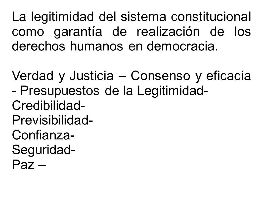 La legitimidad del sistema constitucional como garantía de realización de los derechos humanos en democracia. Verdad y Justicia – Consenso y eficacia