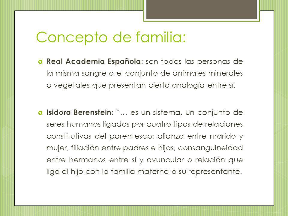 Concepto de familia: Real Academia Española : son todas las personas de la misma sangre o el conjunto de animales minerales o vegetales que presentan