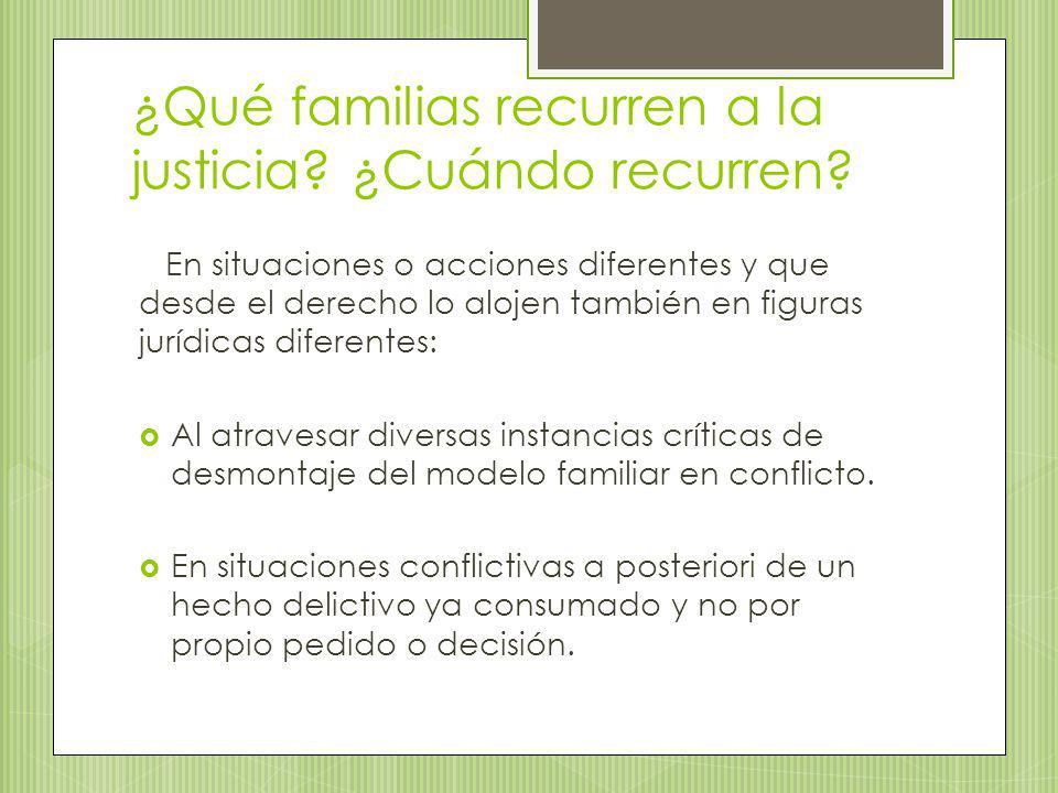 ¿Qué familias recurren a la justicia? ¿Cuándo recurren? En situaciones o acciones diferentes y que desde el derecho lo alojen también en figuras juríd