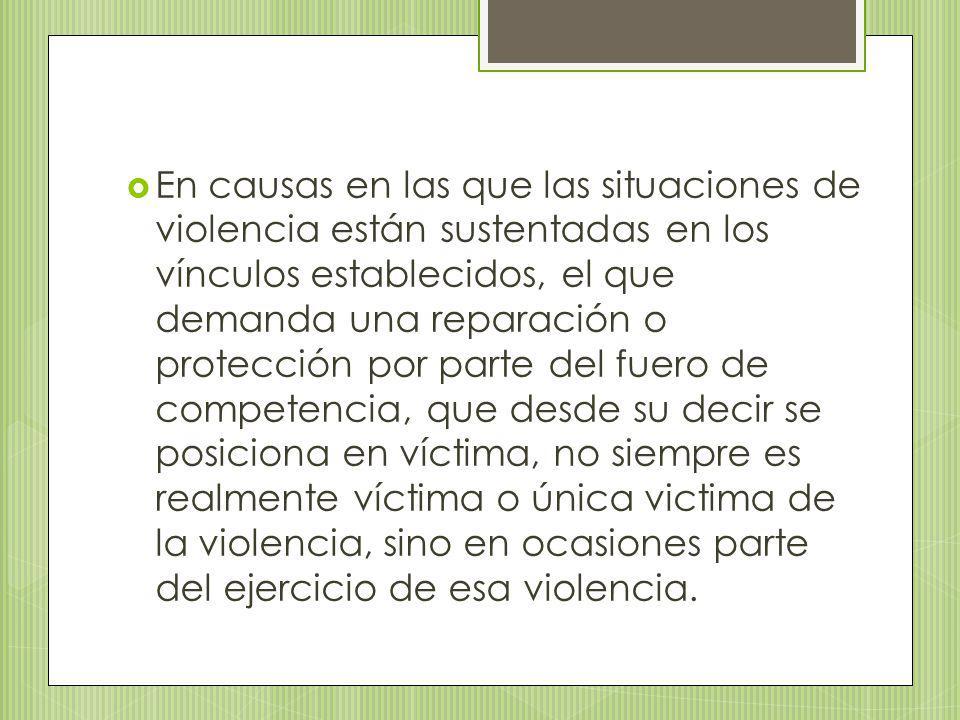 En causas en las que las situaciones de violencia están sustentadas en los vínculos establecidos, el que demanda una reparación o protección por parte