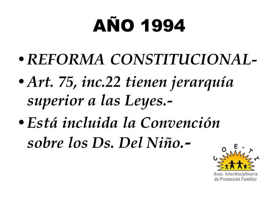 AÑO 1994 REFORMA CONSTITUCIONAL- Art. 75, inc.22 tienen jerarquía superior a las Leyes.- Está incluida la Convención sobre los Ds. Del Niño.-