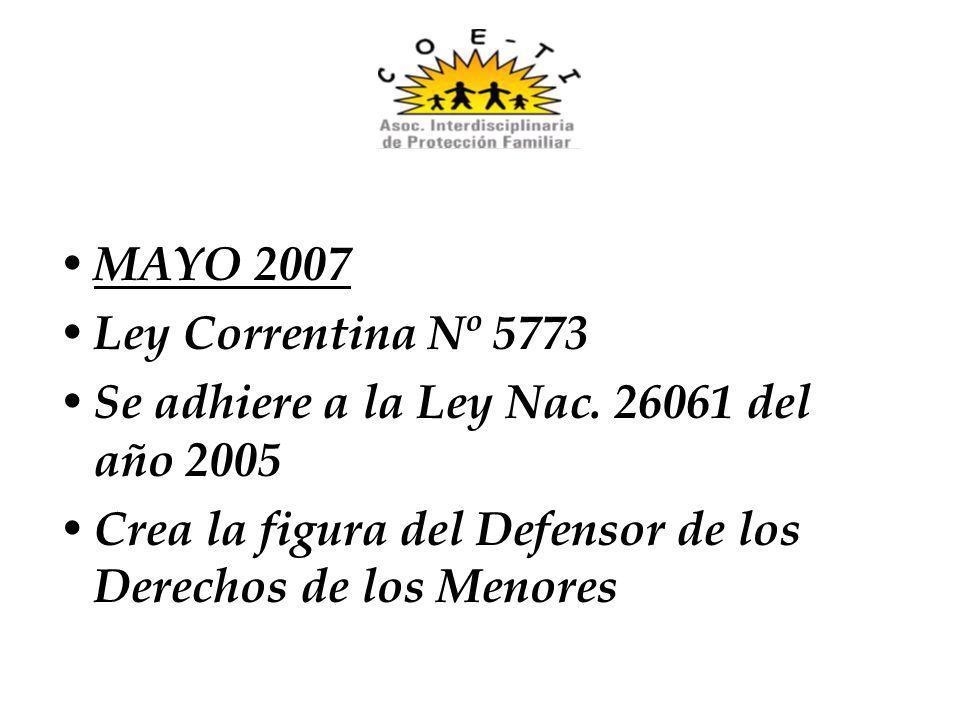 MAYO 2007 Ley Correntina Nº 5773 Se adhiere a la Ley Nac. 26061 del año 2005 Crea la figura del Defensor de los Derechos de los Menores