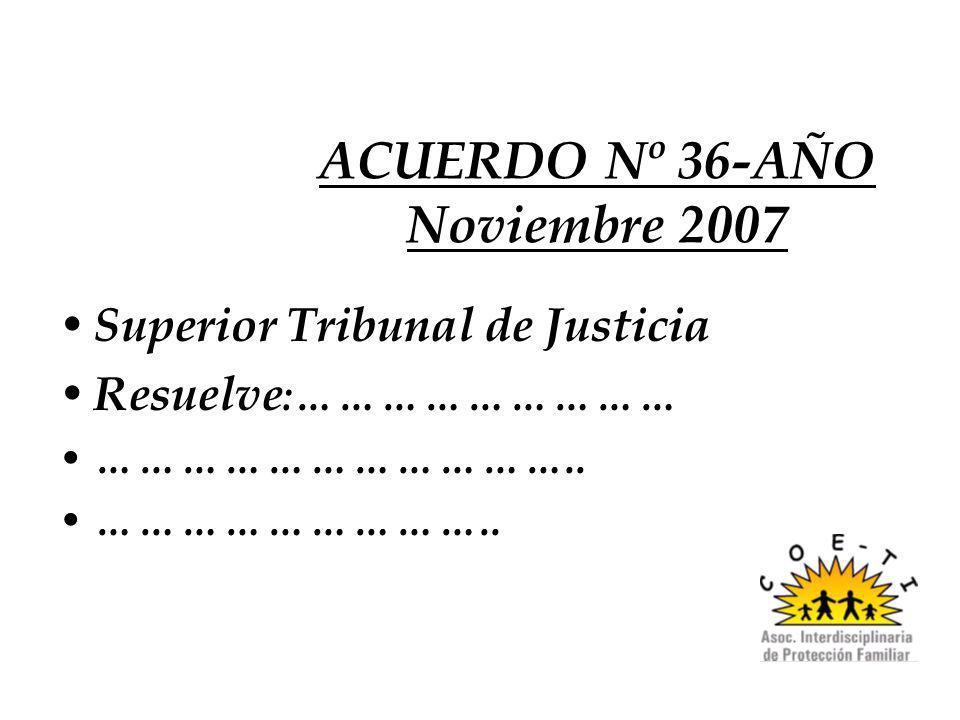 ACUERDO Nº 36-AÑO Noviembre 2007 Superior Tribunal de Justicia Resuelve :……………………… …………………………….. ………………………..