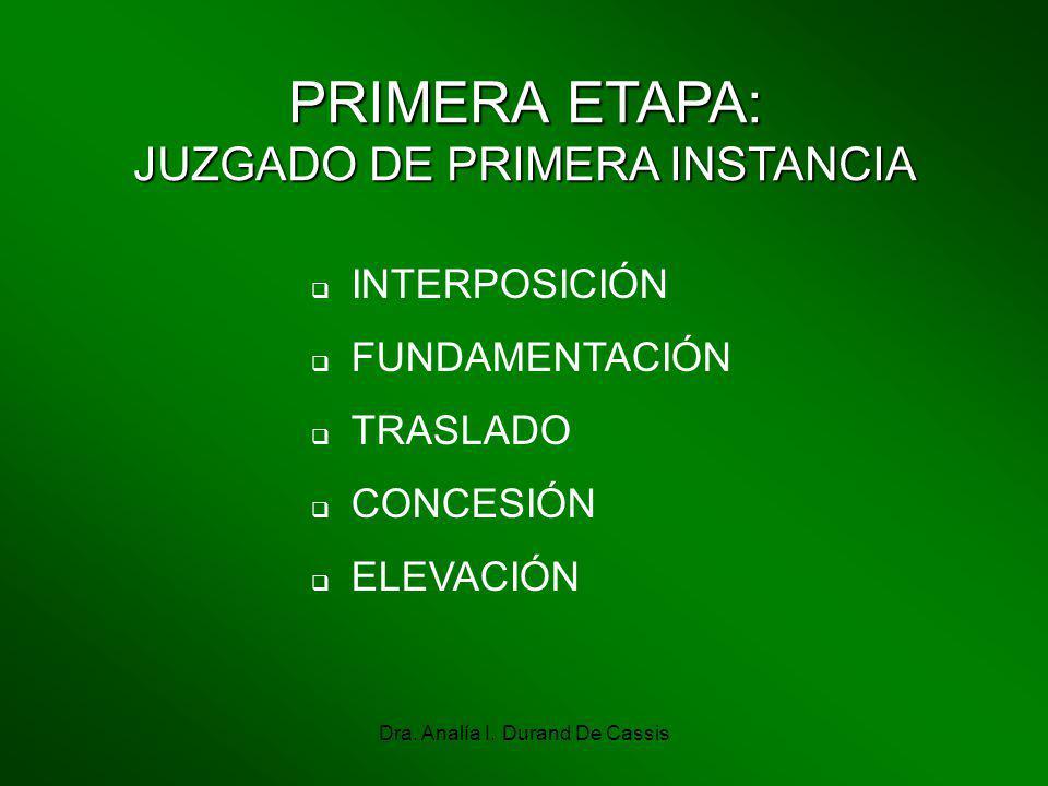 Dra. Analía I. Durand De Cassis PRIMERA ETAPA: JUZGADO DE PRIMERA INSTANCIA INTERPOSICIÓN FUNDAMENTACIÓN TRASLADO CONCESIÓN ELEVACIÓN