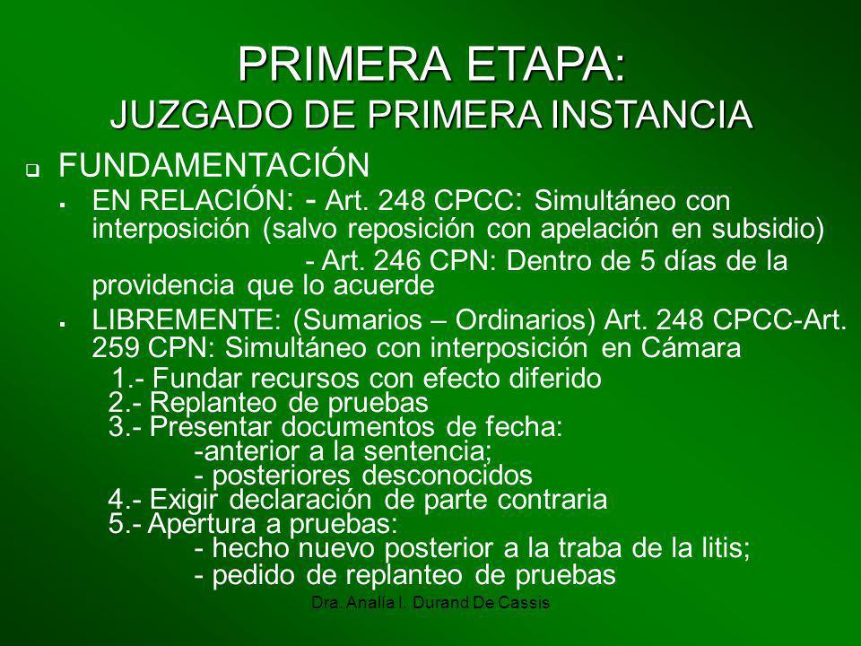Dra. Analía I. Durand De Cassis FUNDAMENTACIÓN PRIMERA ETAPA: JUZGADO DE PRIMERA INSTANCIA EN RELACIÓN : - Art. 248 CPCC : Simultáneo con interposició