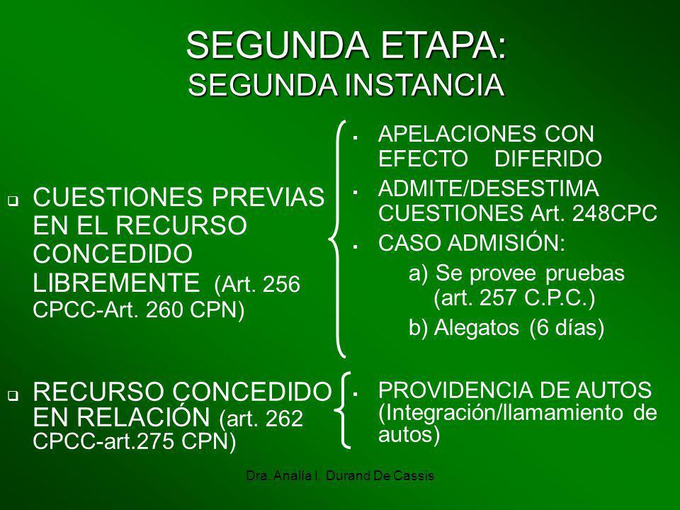 Dra. Analía I. Durand De Cassis SEGUNDA ETAPA: SEGUNDA INSTANCIA CUESTIONES PREVIAS EN EL RECURSO CONCEDIDO LIBREMENTE (Art. 256 CPCC-Art. 260 CPN) AP