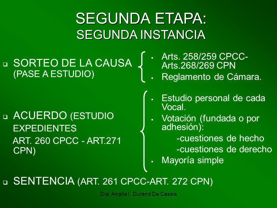 Dra. Analía I. Durand De Cassis SEGUNDA ETAPA: SEGUNDA INSTANCIA SORTEO DE LA CAUSA (PASE A ESTUDIO) Arts. 258/259 CPCC- Arts.268/269 CPN Reglamento d