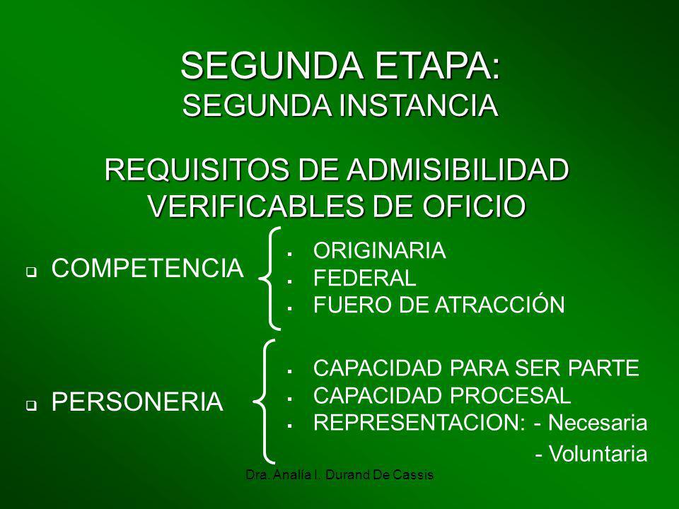 Dra. Analía I. Durand De Cassis SEGUNDA ETAPA: SEGUNDA INSTANCIA REQUISITOS DE ADMISIBILIDAD VERIFICABLES DE OFICIO COMPETENCIA ORIGINARIA FEDERAL FUE