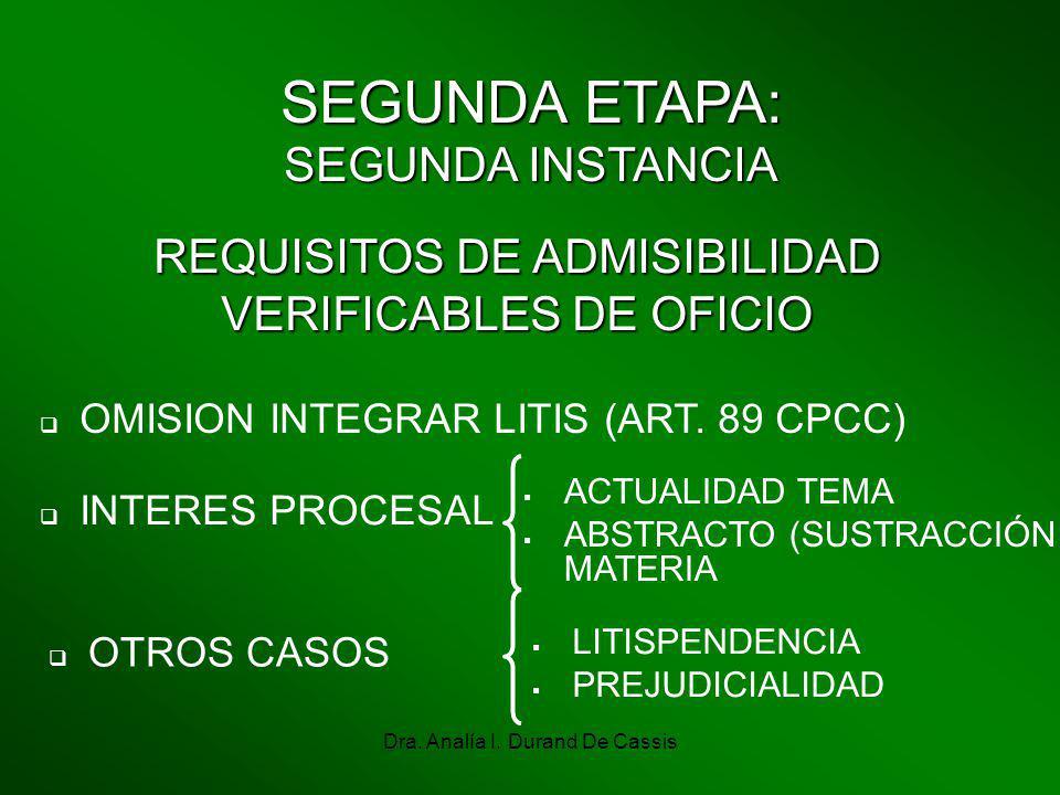 Dra. Analía I. Durand De Cassis SEGUNDA ETAPA: SEGUNDA INSTANCIA REQUISITOS DE ADMISIBILIDAD VERIFICABLES DE OFICIO OMISION INTEGRAR LITIS (ART. 89 CP