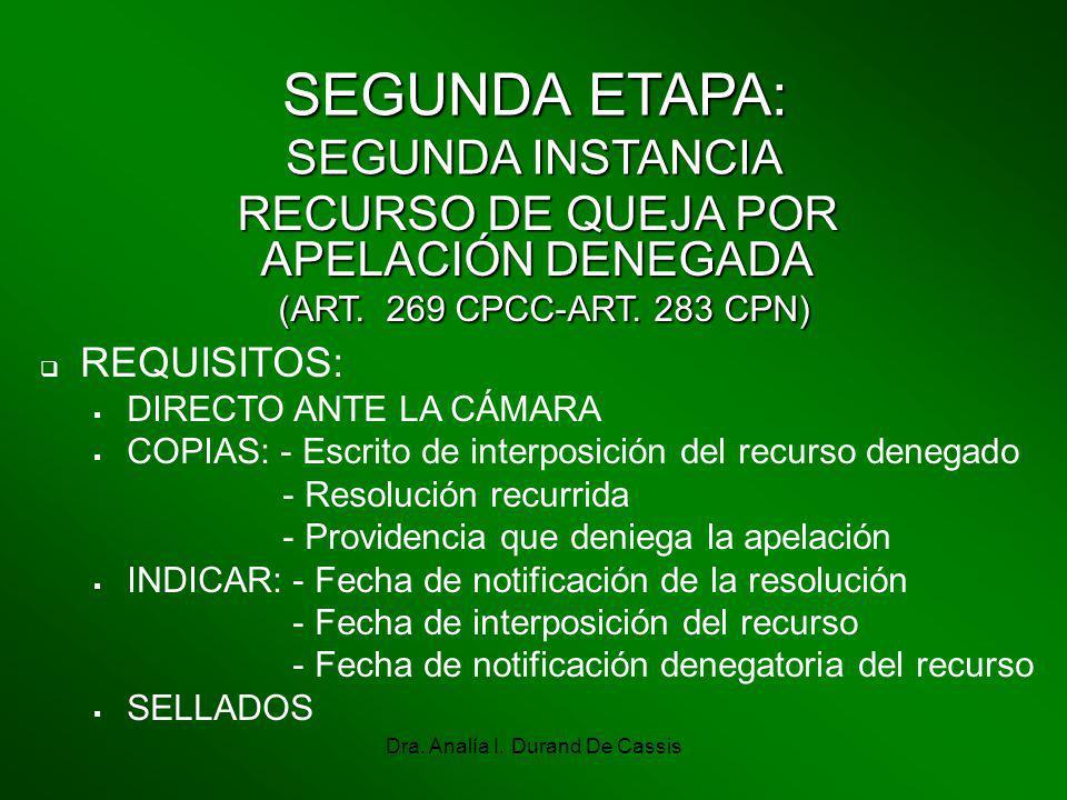 Dra. Analía I. Durand De Cassis SEGUNDA ETAPA: SEGUNDA INSTANCIA RECURSO DE QUEJA POR APELACIÓN DENEGADA (ART. 269 CPCC-ART. 283 CPN) (ART. 269 CPCC-A