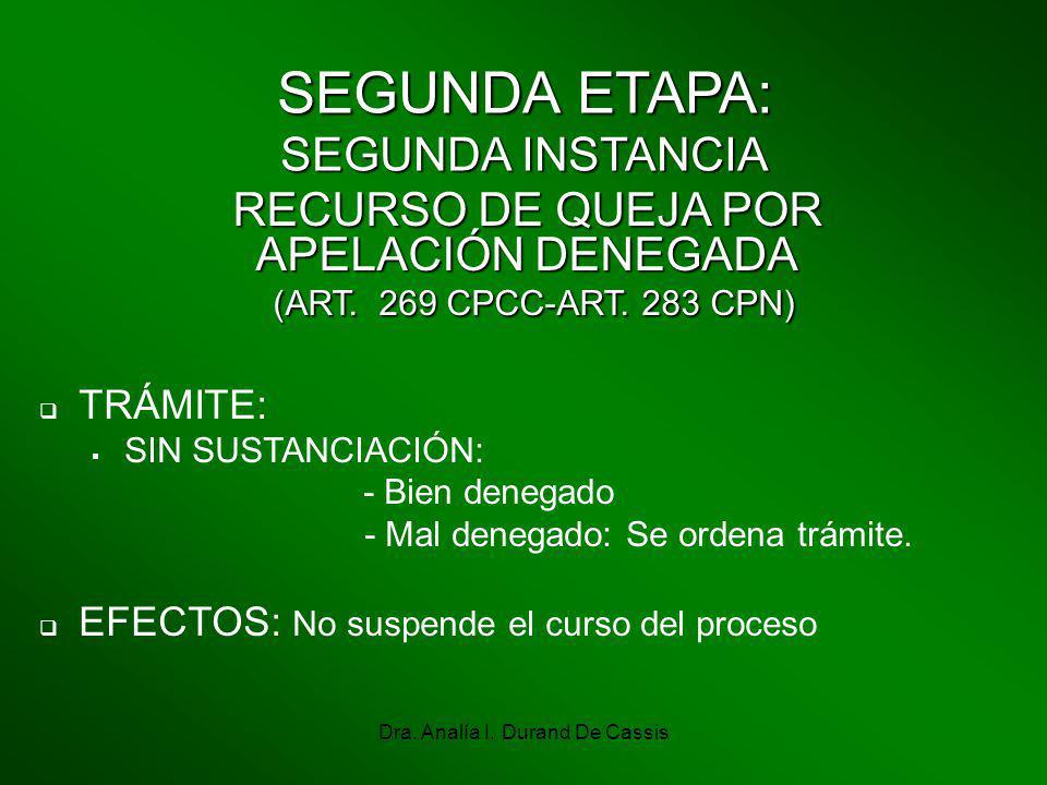 Dra. Analía I. Durand De Cassis SEGUNDA ETAPA: SEGUNDA INSTANCIA TRÁMITE: SIN SUSTANCIACIÓN: - Bien denegado - Mal denegado: Se ordena trámite. EFECTO