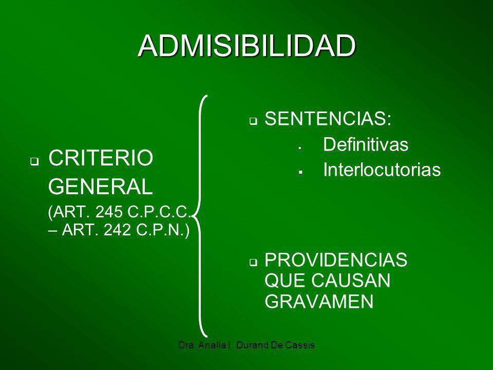 Dra. Analía I. Durand De Cassis ADMISIBILIDAD CRITERIO GENERAL (ART. 245 C.P.C.C. – ART. 242 C.P.N.) SENTENCIAS: Definitivas Interlocutorias PROVIDENC