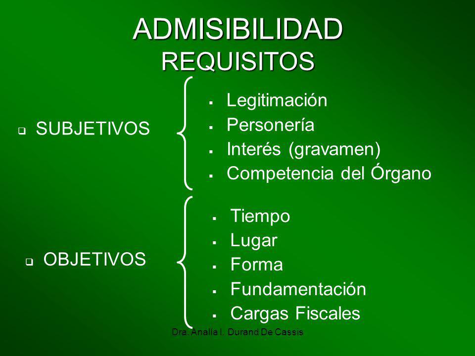 Dra. Analía I. Durand De Cassis ADMISIBILIDAD REQUISITOS Legitimación Personería Interés (gravamen) Competencia del Órgano Tiempo Lugar Forma Fundamen