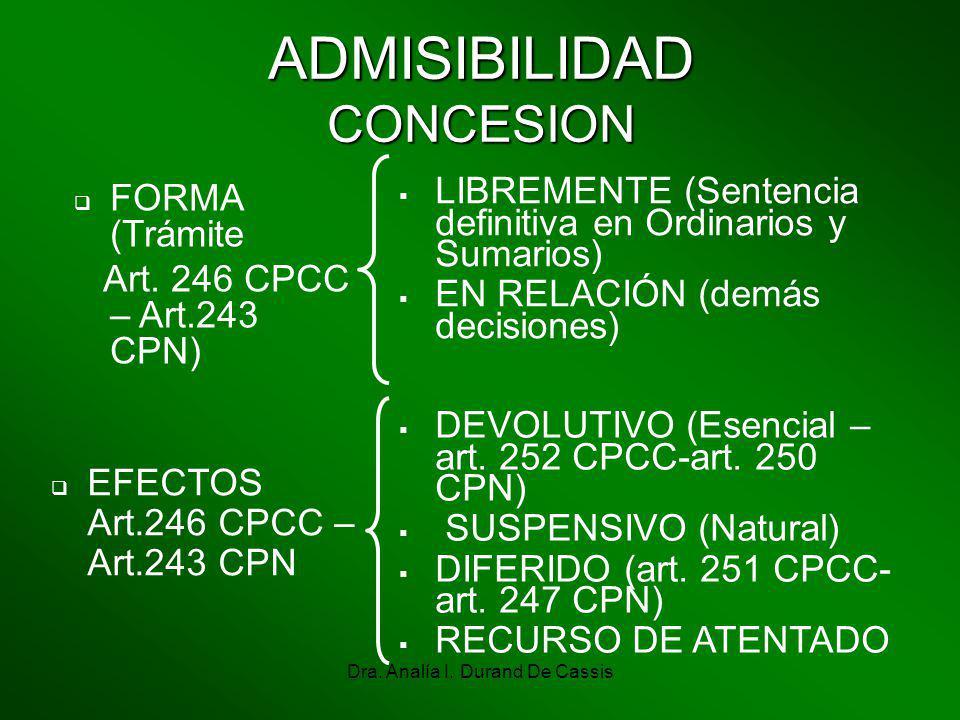 Dra. Analía I. Durand De Cassis ADMISIBILIDAD CONCESION FORMA (Trámite Art. 246 CPCC – Art.243 CPN) LIBREMENTE (Sentencia definitiva en Ordinarios y S