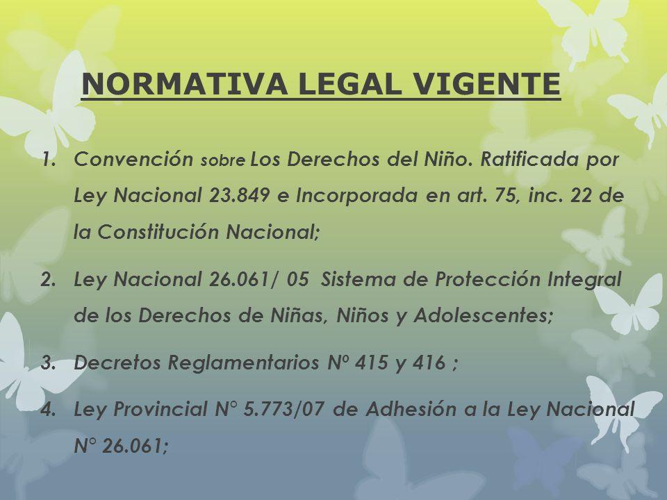 NORMATIVA LEGAL VIGENTE 1. Convención sobre Los Derechos del Niño. Ratificada por Ley Nacional 23.849 e Incorporada en art. 75, inc. 22 de la Constitu