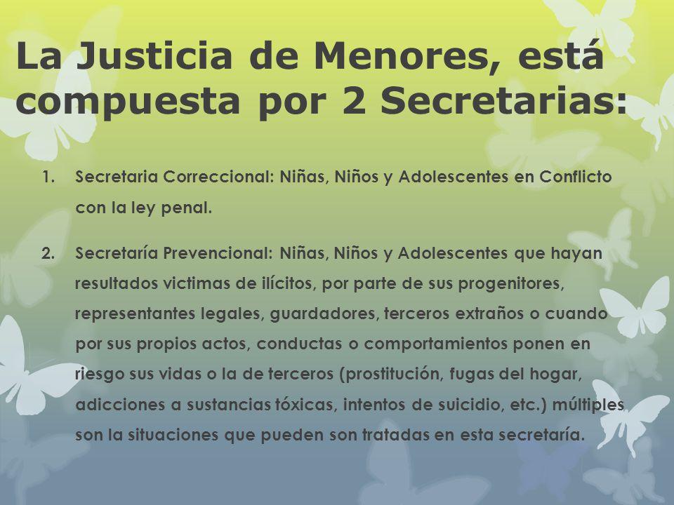 La Justicia de Menores, está compuesta por 2 Secretarias: 1. Secretaria Correccional: Niñas, Niños y Adolescentes en Conflicto con la ley penal. 2.Sec