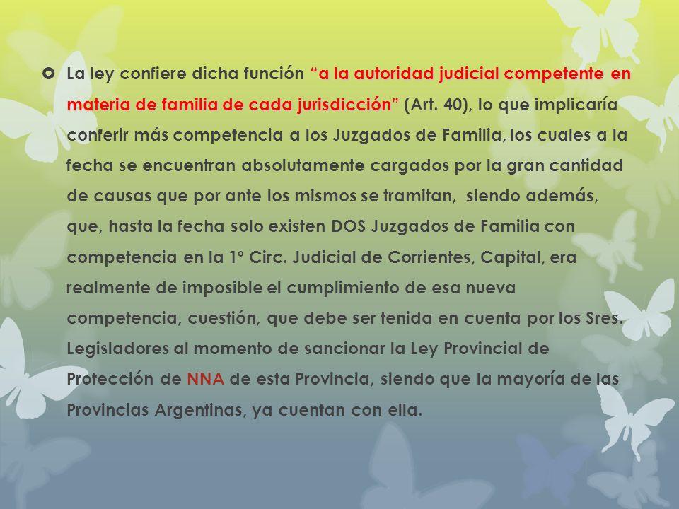 a la autoridad judicial competente en materia de familia de cada jurisdicción La ley confiere dicha función a la autoridad judicial competente en mate
