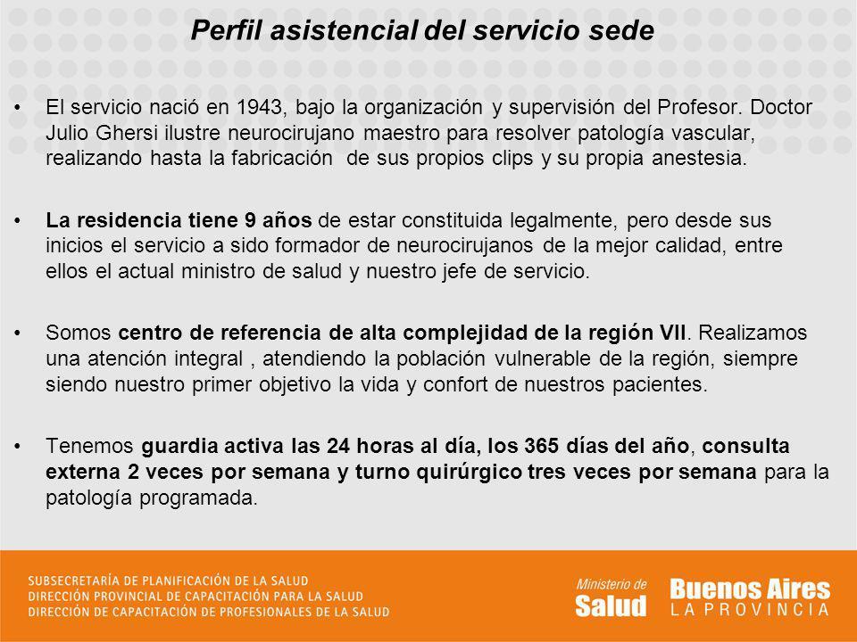 Perfil asistencial del servicio sede El servicio nació en 1943, bajo la organización y supervisión del Profesor.