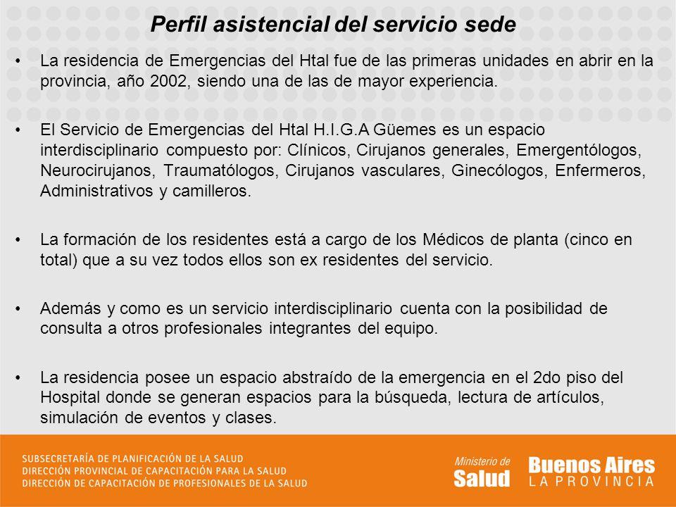 Perfil asistencial del servicio sede La residencia de Emergencias del Htal fue de las primeras unidades en abrir en la provincia, año 2002, siendo una