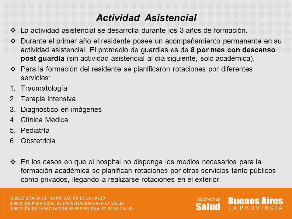 La actividad asistencial se desarrolla durante los 3 años de formación. Durante el primer año el residente posee un acompañamiento permanente en su ac