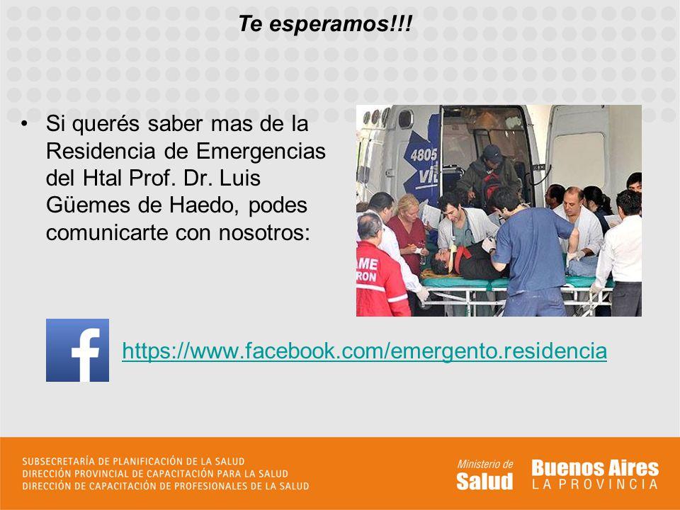 Si querés saber mas de la Residencia de Emergencias del Htal Prof. Dr. Luis Güemes de Haedo, podes comunicarte con nosotros: Te esperamos!!! https://w