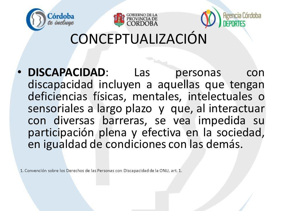 CONCEPTUALIZACIÓN DISCAPACIDAD: Las personas con discapacidad incluyen a aquellas que tengan deficiencias físicas, mentales, intelectuales o sensorial