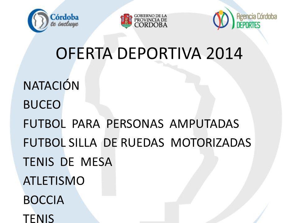 OFERTA DEPORTIVA 2014 NATACIÓN BUCEO FUTBOL PARA PERSONAS AMPUTADAS FUTBOL SILLA DE RUEDAS MOTORIZADAS TENIS DE MESA ATLETISMO BOCCIA TENIS